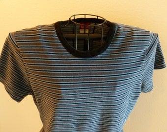 Vintage Velour Blue Black Striped Tee Top Shirt Size Large