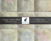"Vintage Shabby Floral Background Textures - Flower Photography - Digital Scrapbook Paper - (12 ""x 12"" 300dpi) Instant Download - 9 JPG Files"
