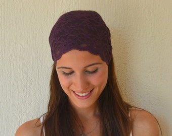 BS-5711- Purple boho lace headband stretchy hair band women's accessory trendy hair bands boho headband