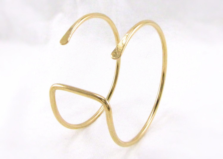 wide brass arm cuff bracelet modern wrist cuff by cuprum29