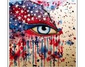 U.S.A., flag,  splatter, watercolor, aquarell, painting, OOAK