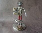 Nerdbot steampunk robot Star Trek fan nerd from vintage watch parts