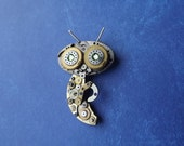 Praying mantis 4 steampunk pendant made from vintage pocket watch parts jewelry