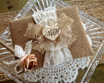 Rustic Wedding Guest Book and Pen, Burlap Wedding, Personalized.