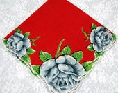 """Vintage Handkerchief - Hankie - """"Hanky"""" Red with Blue-Gray Flowers -   Sewing, Crafting Collecting -  Lot Z9"""
