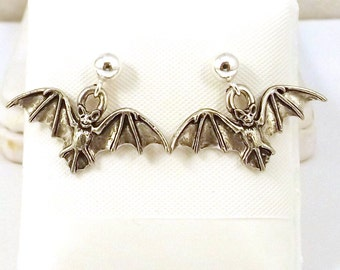 Pewter Bat Charms on Sterling Silver Ball Post  Stud Earrings - 5223