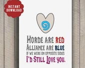 INSTANT DOWNLOAD World of Warcraft WoW Love poem card geeky 5x7