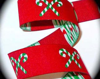 """CANDY CANES on Red Jacquard Ribbon - 1"""""""