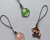 Mario phone charms - can be used on bags or zips to