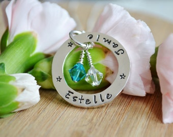 Hand Stamped chunky sterling silver washer family necklace UK