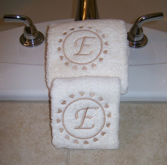 Embroidered Personalized Hand Towels With Hearts And Letter