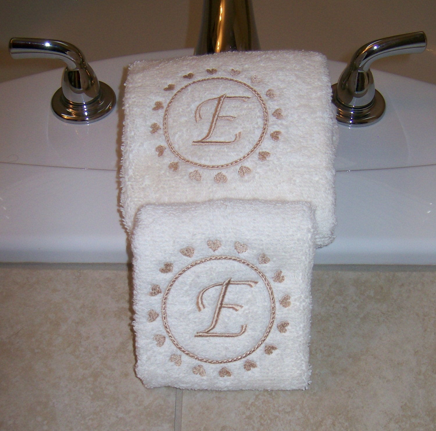 Embroidered Towels Custom: Embroidered Personalized Hand Towels With Hearts And Letter