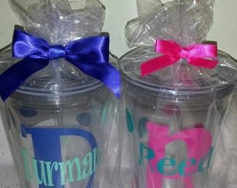 Personalized Tumbler Monogram Initial  16oz BPA free- Custom colors