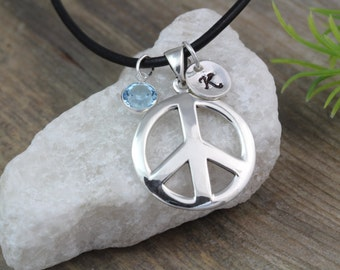 Sterling silver Peace Sign Necklace personalized with initial & Birthstone, Peace Necklace, Silver Peace sign Necklace. 783