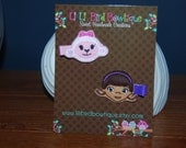 Doc McStuffins and Lambie- Felt Embroidered hair clips