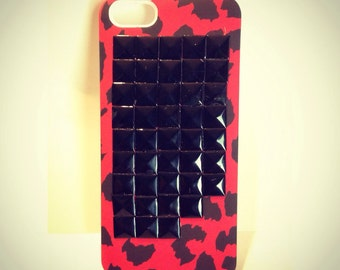 Black Studded iphone SE, iPhone 5, iPhone 5s red leopard case