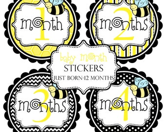 Bumble Bee Baby Month Stickers Make Great Baby Shower Gifts..Bonus Just Born Sticker Included