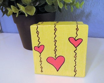 Dangling Hearts Design CUSTOM COLOR Small Square Keepsake, Jewelry Box or Gift Box