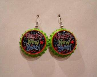 Happy New Year bottle cap earrings
