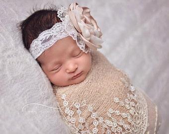Shimmering Sand Headband (tan, sand, beige, ivory, gold, pearl, chiffon, lace)