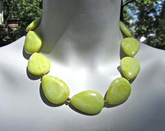 Chunky Statement Necklace, Yellow Stone Necklace, Lime Green Stone, Big Agate Teardrops, Lemon Lime Stones, Gift for Her   034
