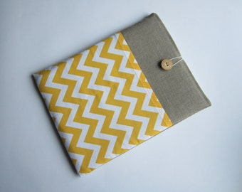 Chevron iPad sleeve, linen iPad sleeve, iPad case, iPad cover, handmade iPad sleeve, iPad smart cover