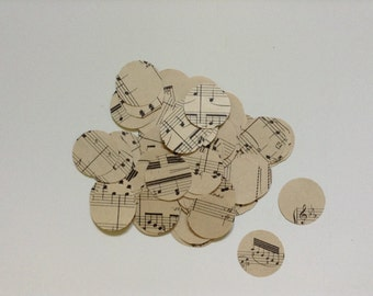 50 Paper circles with musical notes