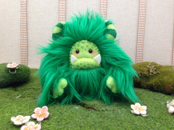 "Yeti artist bear, forest green faux fur monster plush ""Sprigg"""