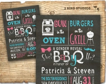 Gender reveal invitation- chalkboard baby q barbecue baby shower for gender reveal party bbq- DIY printable invitation