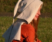 "DISCOUNTED PRICE! Custom Medieval Hat ""Red Elise""; Chaperone; Linen Hood"