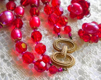 Marvelous MARVELLA Vintage Red Crystals & Beads Necklace and Earrings Set 1960s