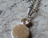 Champage cz and druzy necklace.