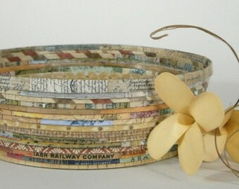 Recycled Coiled Paper Basket Bowl Medium, Earth Tones, Handmade