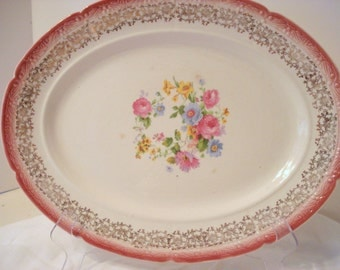 Shabby Platter New Yorker by Salem China Shabby Cottage Chic Pink Rose Vintage