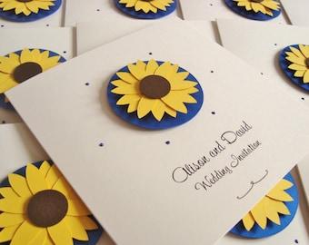 Personalised Sunflower Wedding Invitation Sample