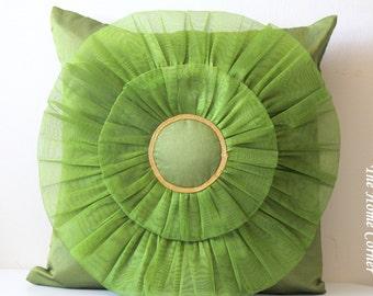 Green Throw Pillow Green Silk Pillow Green Cushion Cover Decorative Pillow Pinwheel Pattern Accent Pillow Green Birthday Gift Housewarming