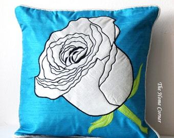 Blue Silver Throw Pillow, Blue Throw Pillow, Blue Cushion Cover, Rose Pillow, Silver Pillow, 16x16 pillows, Handmade, Appliquéd Pillows
