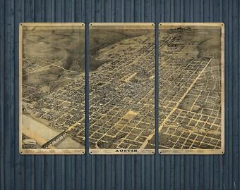 "Vintage Austin METAL Map Triptych 36x24"" FREE SHIPPING"