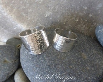 Cigar Band Ring Sterling Silver Ring Hammered Texture 925 Ring Adjustable Unisex His and Hers 18 gauge