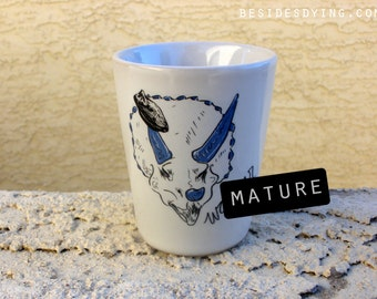 DINOSAURS Dirty Dishes Shot Glasses-- triceratops-- mature