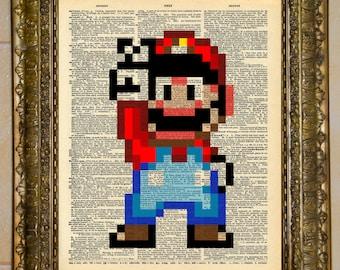 Super Mario SNES Retro 16-Bit Dictionary Art