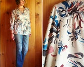 Vintage top | Floral 1970s print top with sash