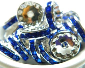 25 Rondelle Spacer Beads, Royal Blue Crystal Rhinestones Rondelles, 12mm Rondelles