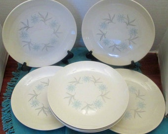 Vintage Homer Laughlin China Gray and Blue Star Pattern Studio Shape Dura Print Luncheon Plates - set of 7