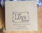 """Seed Bag Wedding Favor """"Let Love Grow""""- Eco Friendly 100% Recycled Bag - Empty"""