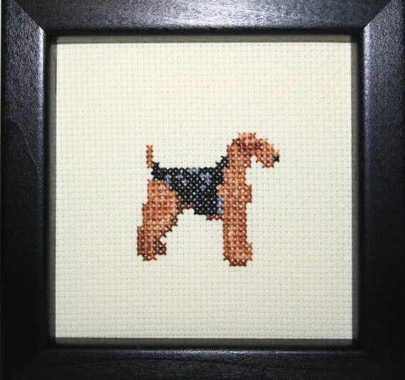 Airedale Terrier Cross Stitched Full Body Dog.