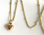 Gold Puffed heart Necklace/ solid 14 K Gold Heart Pendant Vintage style gold heart ,romantic holiday gifts, feminine delicate tiny Heart