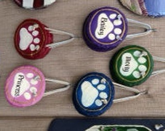 2 Handpainted Personalized Pawprint Pet Name Plates for dog or cat