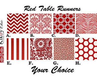 """Red TABLE RUNNER.Table Runner.Red Table Runners.red White Table Cloth. 48"""", 60"""",72"""",84"""",96"""" Runner or 12 x 18""""Placemat."""
