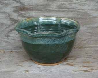 Beautiful, Unique-Shaped Handmade Bowl in Greens